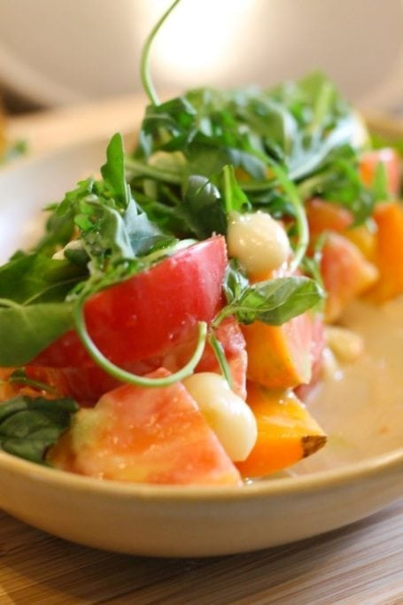 Marinated heirloom tomatoes, house fermented chickpea miso dressing - Forage Vancouver