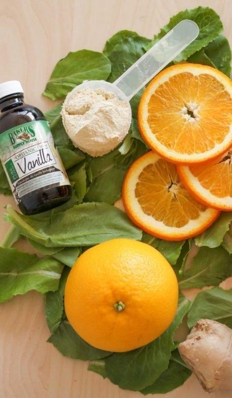 Vanilla, protein powder and oranges
