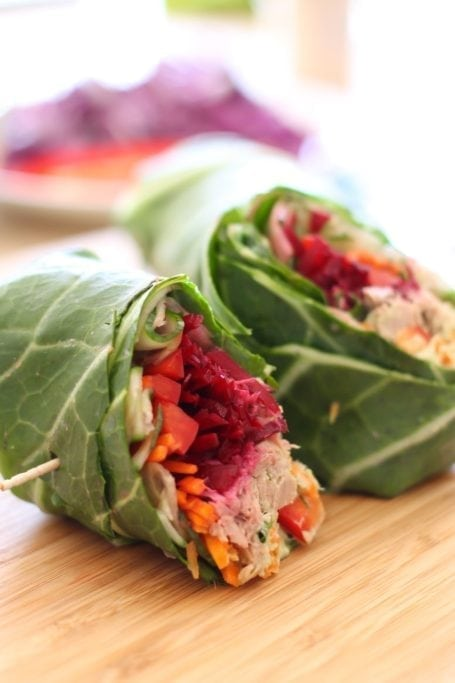 Veggie-Stuffed Tuna Collard Wraps - Eat Spin Run Repeat
