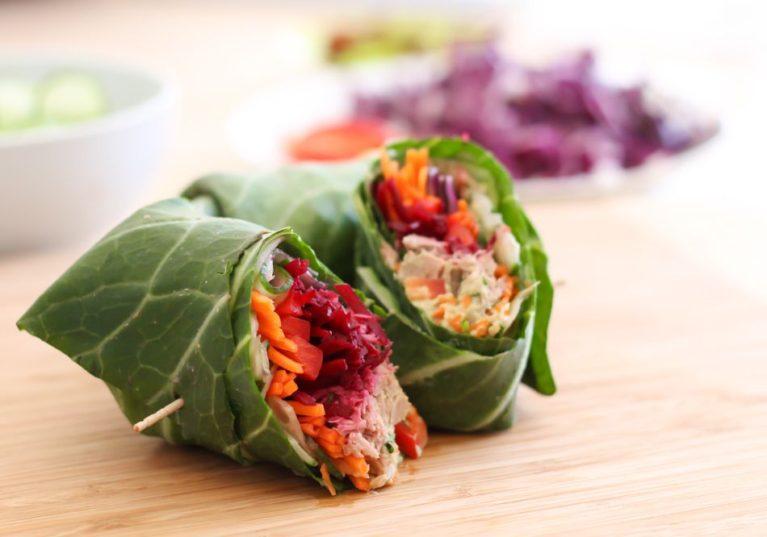 Veggie-Stuffed Tuna Collard Wraps - Eat Spin Run Repeat