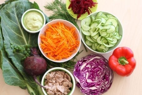 Veggie-Stuffed Tuna Collard Wraps - Ingredients