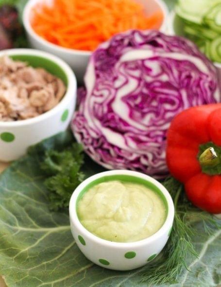 Veggie-Stuffed Tuna Collard Wraps Ingredients - Eat Spin Run Repeat