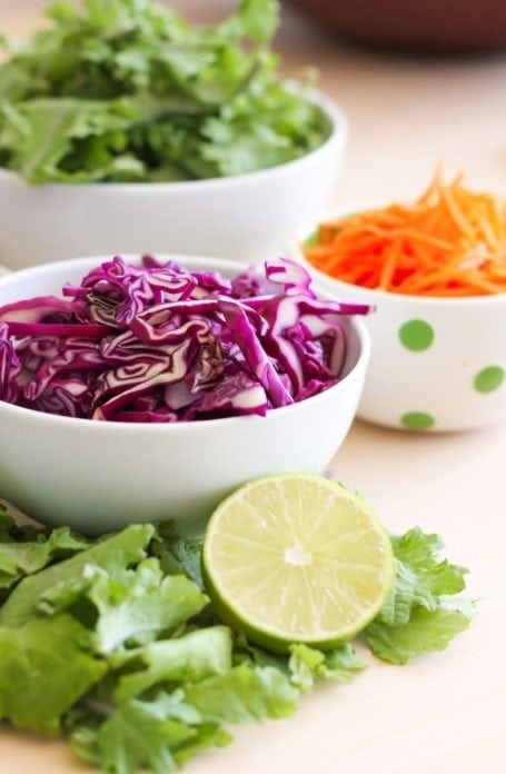 purple cabbage and lime