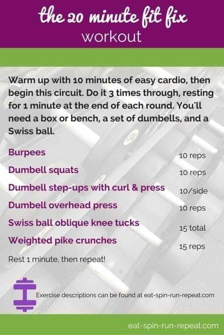 Fit Bit Friday 209 - The 20 Minute Fit Fix Workout - Eat Spin Run Repeat