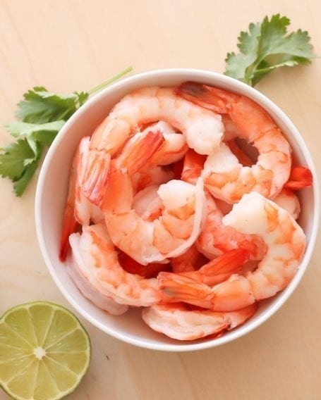 cooked shrimp with tails