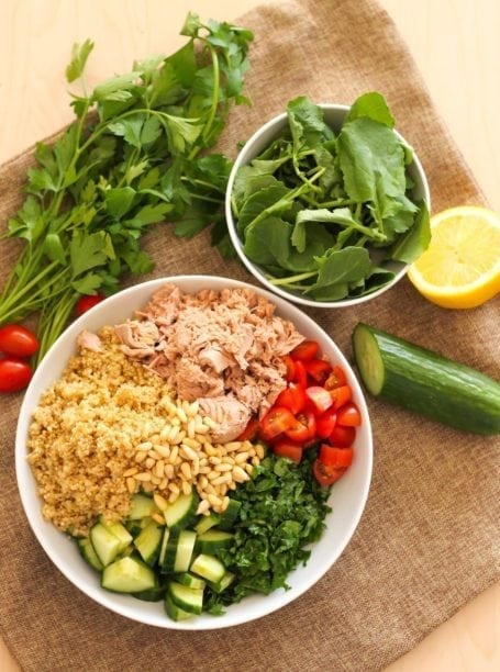 Ingredients for Tuna and Quinoa Tabbouleh - Eat Spin Run Repeat
