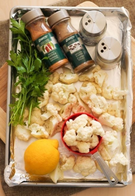 Lemon Roasted Cauliflower Ingredients - Eat Spin Run Repeat
