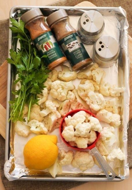 Lemon Roasted Cauliflower Ingredients - Eat Spin Run Repeat