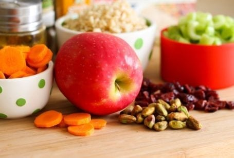 apple with carrots pistachios and cranberries