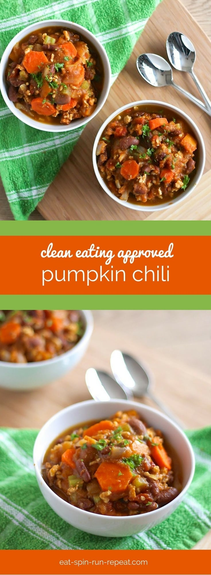 Clean Eating Pumpkin Chili - This fall-inspired chili is a delicious and super healthy lunch or dinner that can be made ahead in big batches. To make it vegan, swap out the ground turkey for grated tempeh or any type of bean. Recipe at eat-spin-run-repeat.com