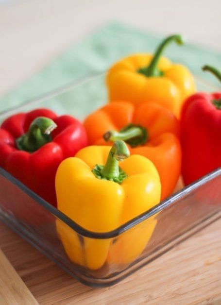 bell peppers in pyrex dish