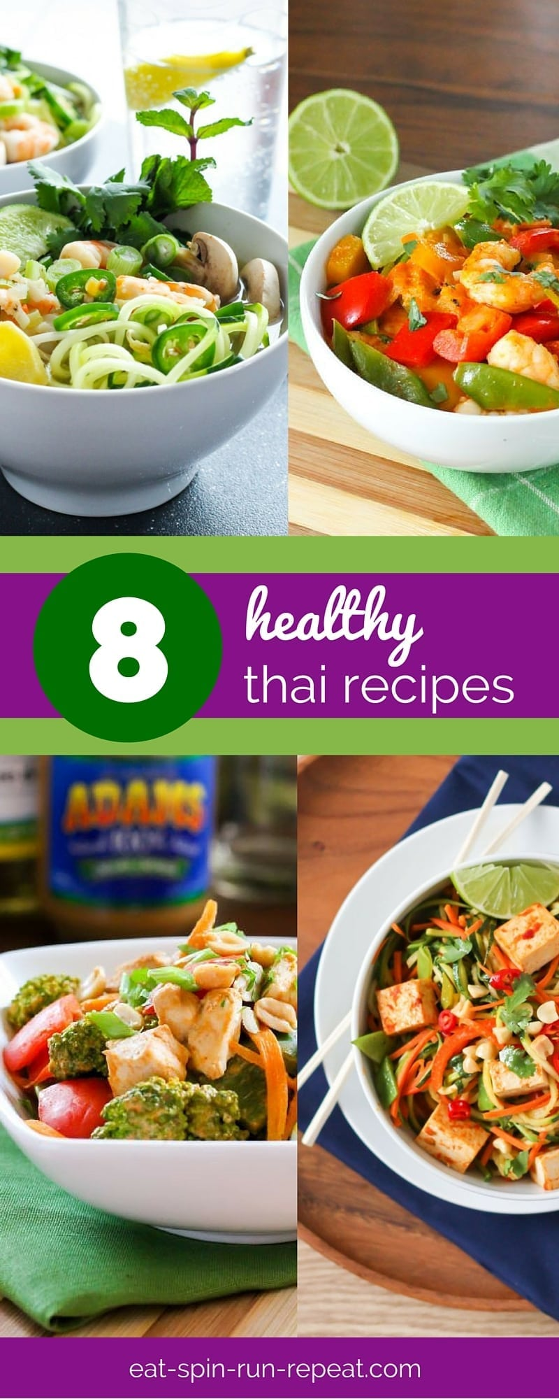 A roundup of 8 clean eating-approved, healthy Thai Recipes - many with vegan and vegetarian options!