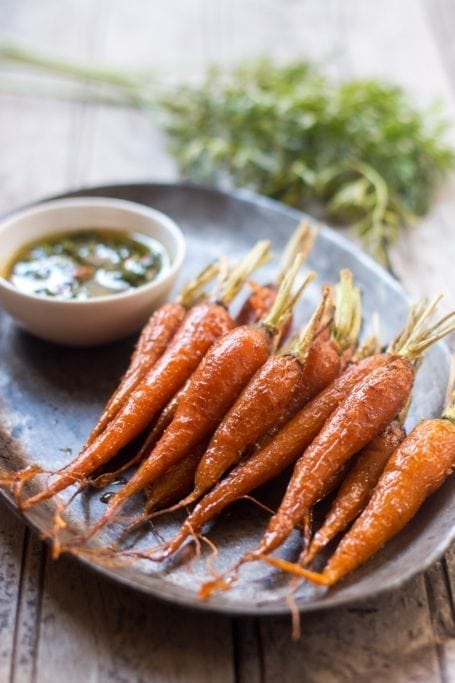 Honey Ginger Roasted Carrots with Carrot Greens Chimichurri - My Food Story