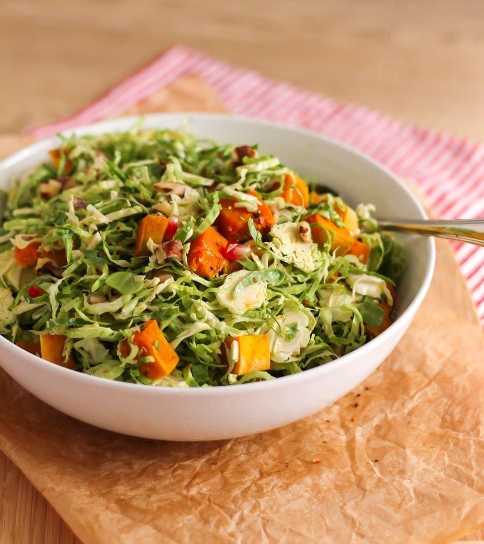 Shaved Brussels Sprout Salad with Apple Cider Vinaigrette