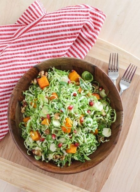 Shaved Brussels Sprout Salad with Apple Cider Vinaigrette - Eat Spin Run Repeat