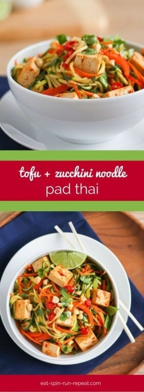 Tofu and Zucchini Noodle Pad Thai Recipe - A full-flavoured, vibrant, vegan and gluten-free version of pad Thai that tastes even better than takeout (and is clean eating-approved too!)