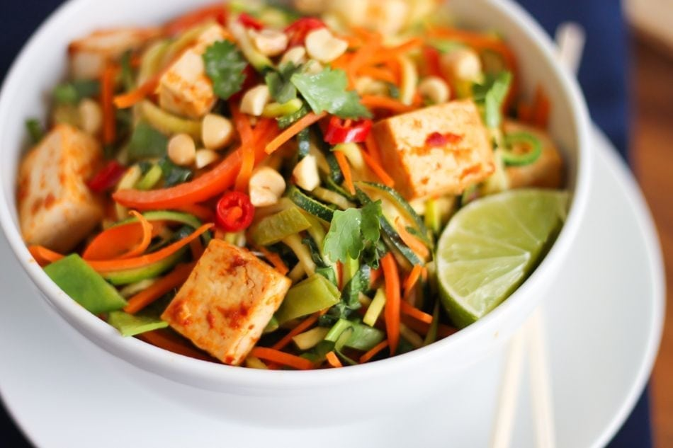 Tofu and Zucchini Noodle Pad Thai  Eat Spin Run Repeat