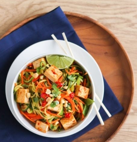 Tofu and Zucchini Noodle Pad Thai - Eat Spin Run Repeat