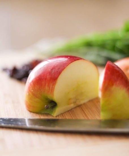chopping an apple