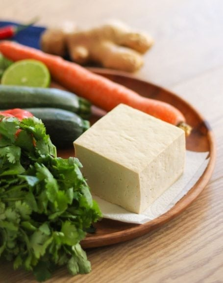 tofu block and cilantro
