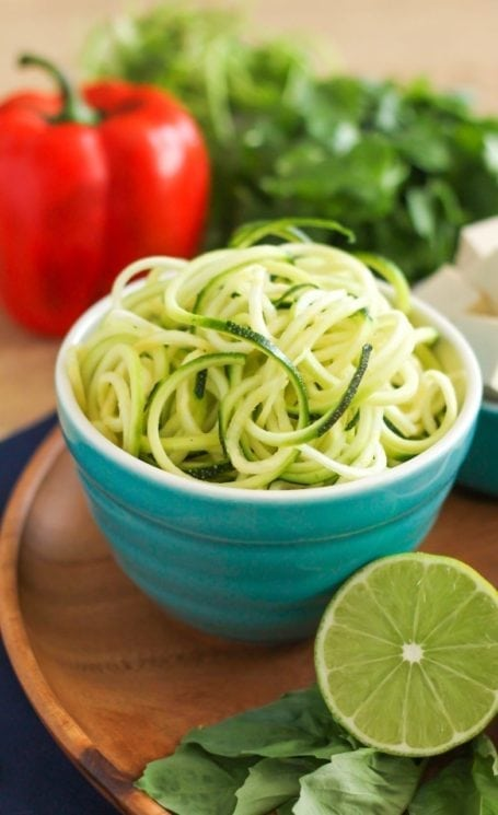 zucchini noodles and lime