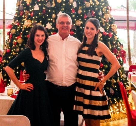 Christine Dad and I at Christmas Brunch