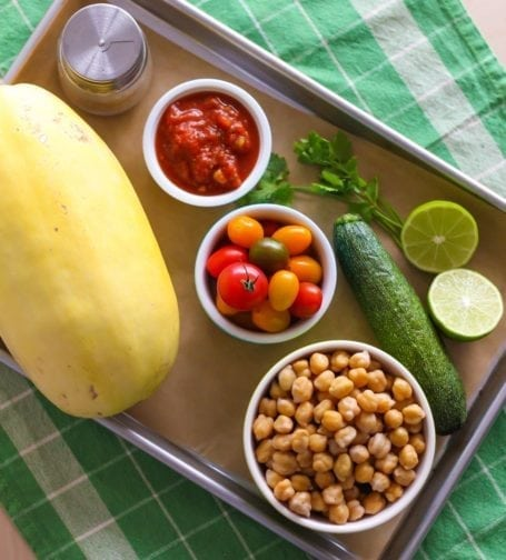 Ingredients for Zesty Chickpea Stuffed Spaghetti Squash - Eat Spin Run Repeat