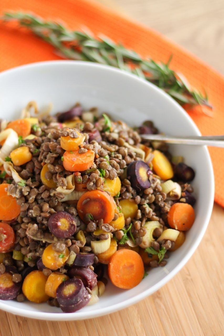 Rosemary Rainbow Carrot and Lentil Salad