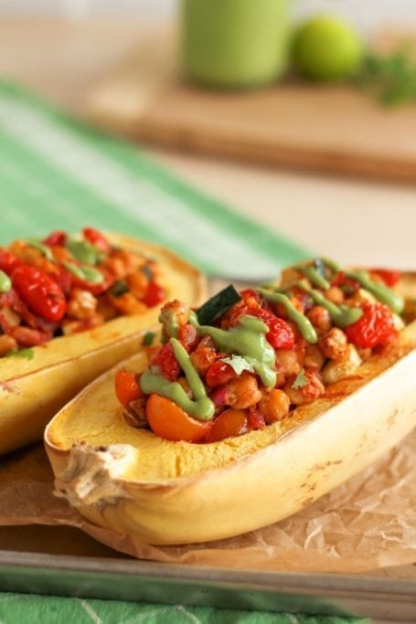 Zesty Chickpea Stuffed Spaghetti Squash - Eat Spin Run Repeat