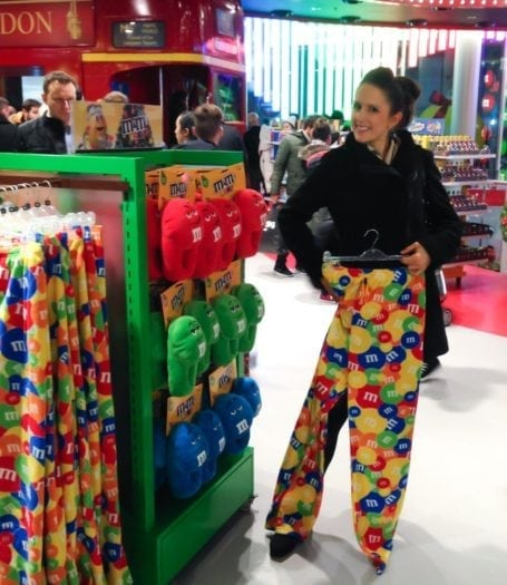 M&M world with very fleecy trousers