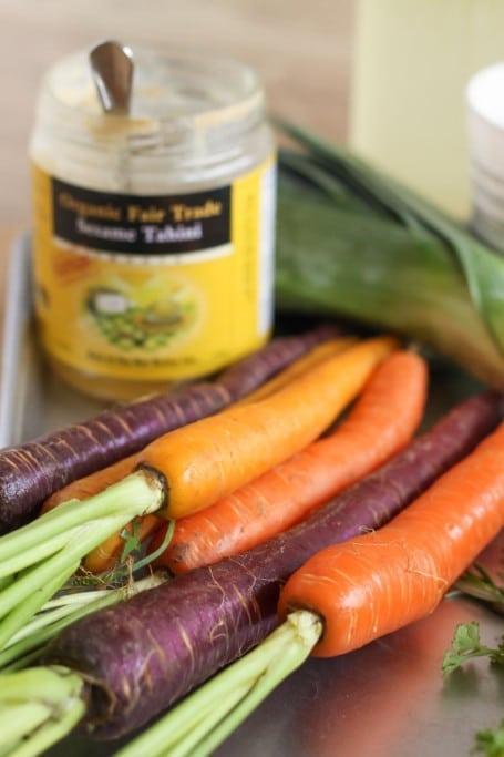 rainbow carrots and tahini
