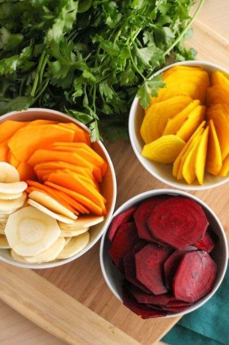 sliced root vegetable rounds
