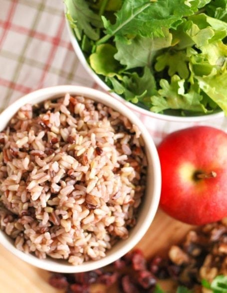 wild rice and an apple