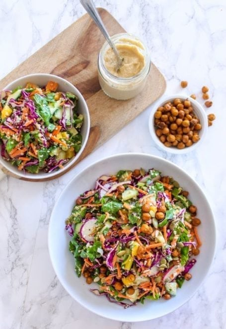 Rainbow Kale Slaw with Miso Tahini Dressing - a healthy, delicious big-batch salad recipe - vegan, dairy-free, gluten-free || Eat Spin Run RepeatRainbow Kale Slaw with Miso Tahini Dressing - a healthy, delicious big-batch salad recipe - vegan, dairy-free, gluten-free || Eat Spin Run Repeat