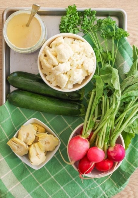 Ingredients for Roasted Cauliflower, Zucchini and Artichoke Salad - Eat Spin Run Repeat