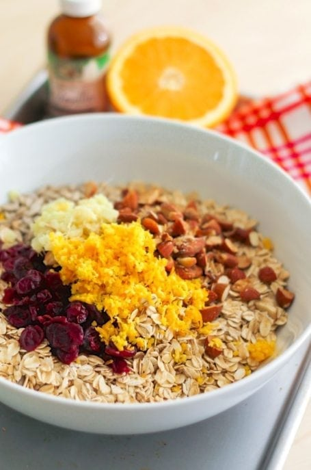 Mixing Cranberry Orange Granola - Eat Spin Run Repeat