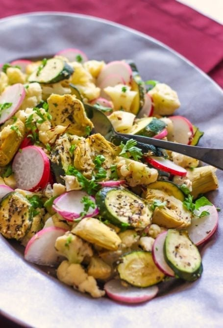 Roasted Cauliflower, Zucchini and Artichoke Salad - Eat Spin Run Repeat