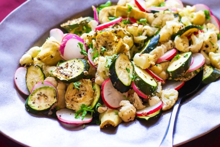 Roasted Cauliflower, Zucchini and Artichoke Salad - Eat Spin Run Repeat