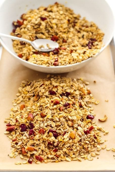 Unbaked Cranberry Orange Granola - Eat Spin Run Repeat