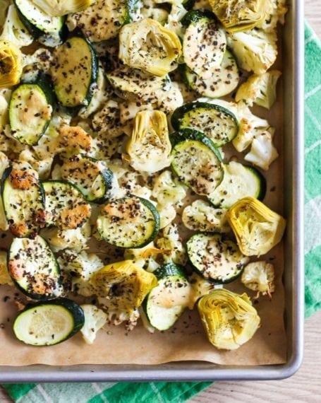 roasted artichokes zucchini and cauliflower