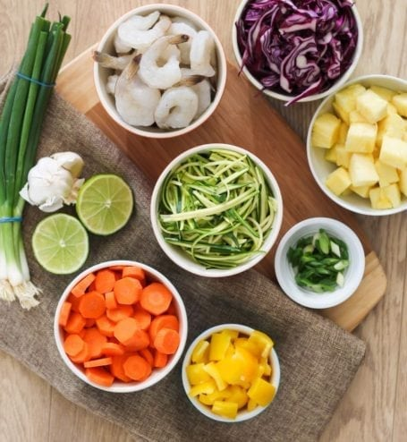 Ingredients for Pineapple Teriyaki Shrimp Stir Fry - Eat Spin Run Repeat