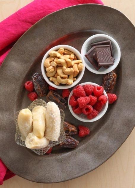 Ingredients for Vegan No-Bake Chocolate Raspberry Tarts - Eat Spin Run Repeat