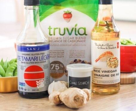 Ingredients for low sugar teriyaki sauce