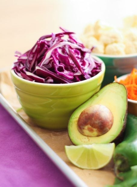 shredded cabbage and avocado
