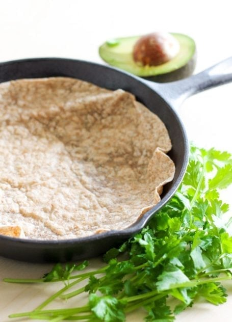 tortilla in a cast iron skillet