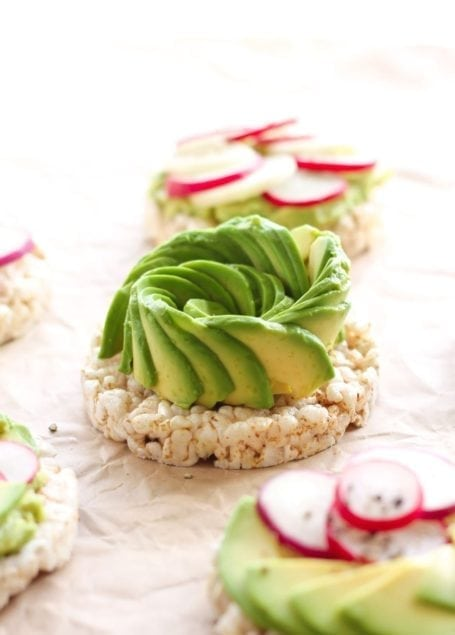 Avocado and Radish Rice Cakes - Eat Spin Run Repeat