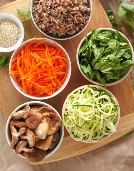 Ingredients for Veggie Korean Bibimbap - Eat Spin Run Repeat
