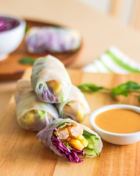 Pineapple Shrimp Rolls with Mind-Blowing Peanut Sauce - Eat Spin Run Repeat