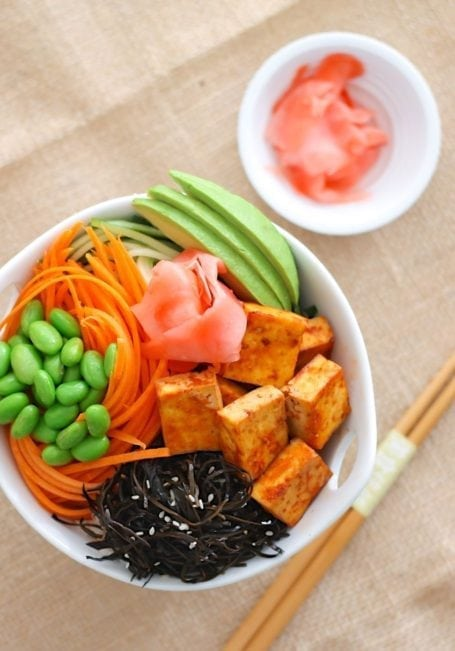 Ultimate Spicy Tofu Sushi Bowl - Eat Spin Run Repeat