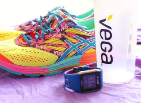 Vega bottle with Asics and Polar V800